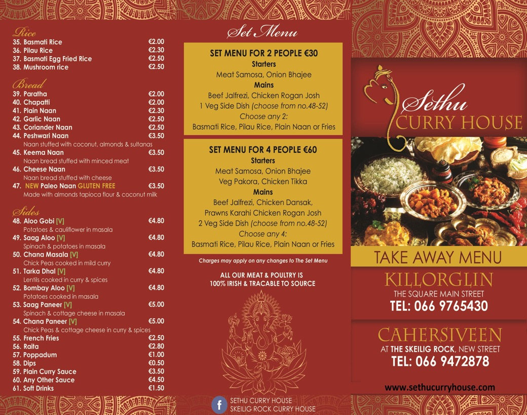 Sethu Set Takeaway Menu